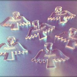plastikiniai permatomi angeliukai su linkejimais