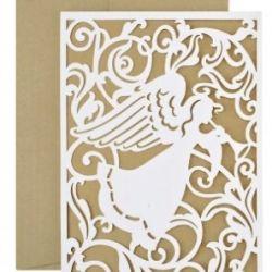 kaledinis atvirukas angelas pjaustytas lazeriu