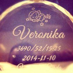 stiklinis medalis krikstynu proga graviruota data ir vardas