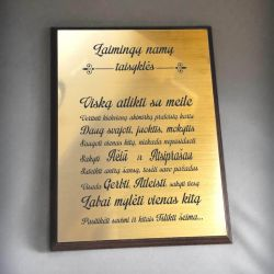 laimingu namu taisykles graviruotos ant auksines plokstes