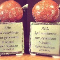 keramikiniai obuoliai su padeka tevams