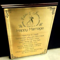 rules-for-a-happy-marriage engraved on golden plate