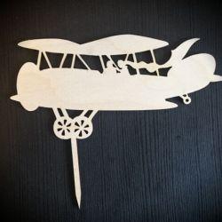 papuosimas smeigtukas dekoracija tortui lektuvas medinis