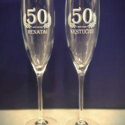 stiklines sampano taures graviruotos 50