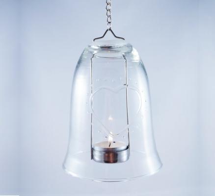 pakabinamas varpelis zvakide stiklinis