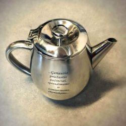 arbatinukas metalinis graviruotas su palinkejimais