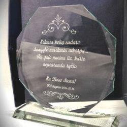 stiklinis apdovanojimas bosui graviruotu tekstu