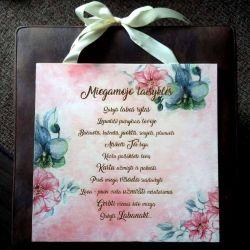 dovana-vestuvine-miegamojo-taisykles graviruotos dekoruotos su kaspinu