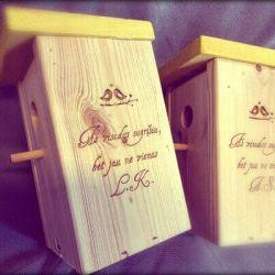 mediniai inkilai-vestuvems su uzrasais