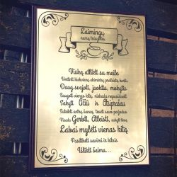 laimingu namu taisykles graviruotos ant auksines lenteles