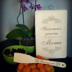pjaustymo lentele medine graviruota gamina mamai dovana