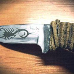 peilis-skorpionas graviruotas lazeriu