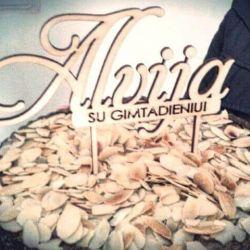 medinis torto smeigtukas dekoracija gimtadinio proga